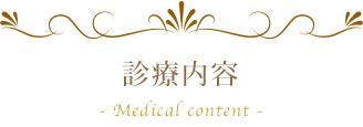 診療案内 - Medical content -